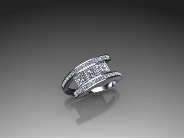 Contemporary bypass diamond ring