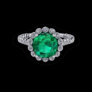 Organic Vintage style emerald custom halo ring