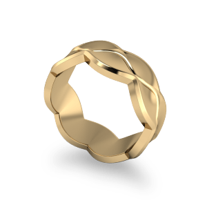 Wavy yellow gold band