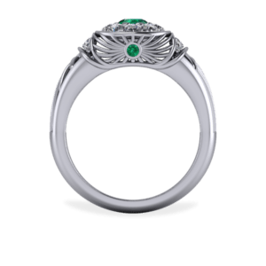 Platinum, Emerald, Diamond, Cocktail Ring, Filigree