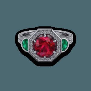 diamond band, halo, gemstone, triolgy, ruby ring