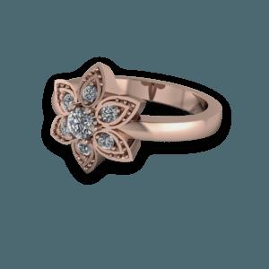 floral, petal, engagement ring, diamond, rose gold