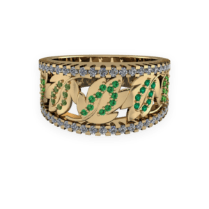 floral, wide band, emerald, yellow gold, leaf pattern
