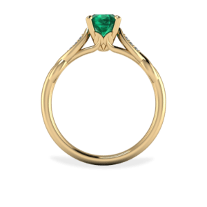 Emerald, Yellow Gold, Leaf, Floral