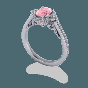 Pink, Floral, Cluster, Halo