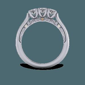 platinum, trilogy ring, floral, diamond, engraved scrolls