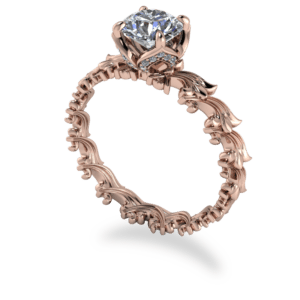 rose gold, diamond, solitaire, floral, four claw