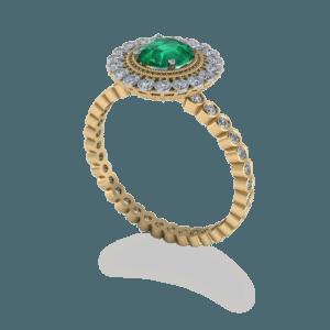 vinatge, vintage, emerald, halo, bezel set