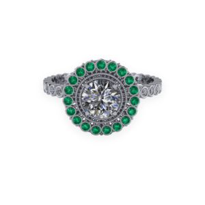 halo, platinum, emerald, bezel set diamonds, diamond shoulders