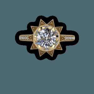 diamond, yellow gold, cathedral shank, ballerina, halo