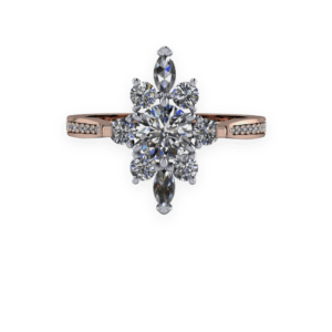 Diamond, Rose gold, cathedral shank, ballerina, cluster
