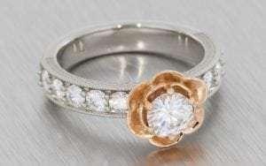 Two tone floral moissanite engagement ring - Portfolio