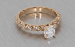 Diamond Twist Rose Gold Solitaire Engagement Ring